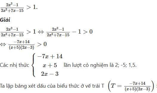 luyện tập về các dạng toán dấu của nhị thức bậc nhất