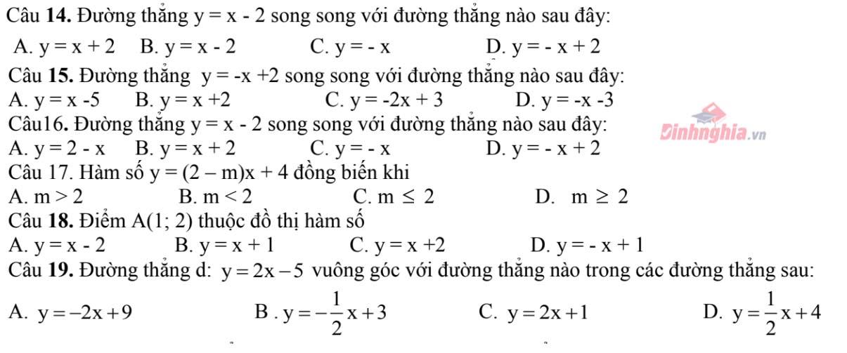 một số trắc nghiệm về hàm số
